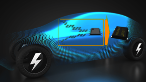 Image of the Monitor IC NJU7890 from NJR; an electric vehicle in the background.